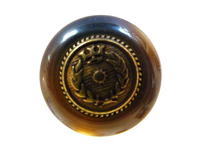 Tortoiseshell Brass Laurel Leaf and Crown button (no.00351)