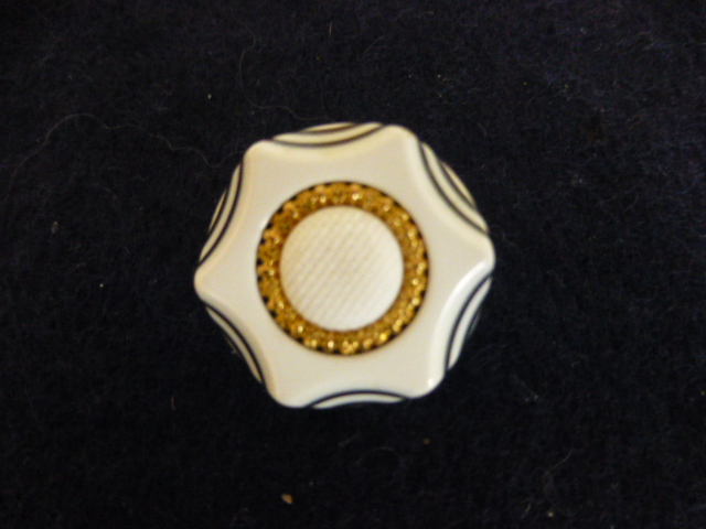 White and Navy Layered Gold Centre button