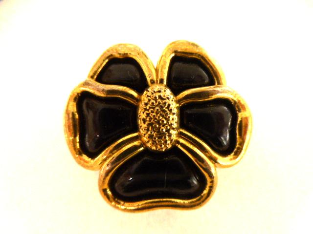 Black and Gold Lily button