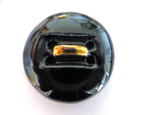 Black and Gold French Vintage Pottery button