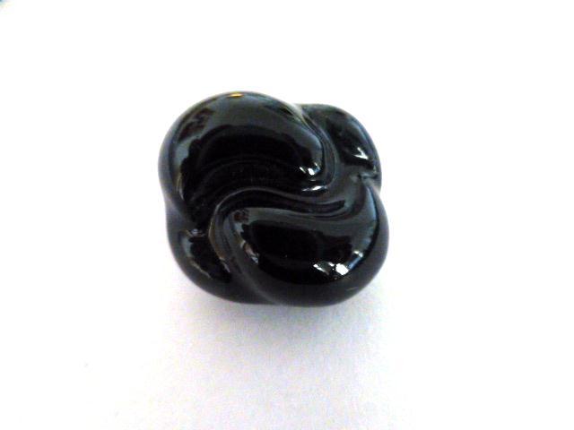 Black Vintage Pottery French Knot button