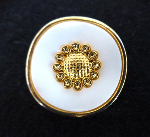 White and Gold Rim and Flower Centre button