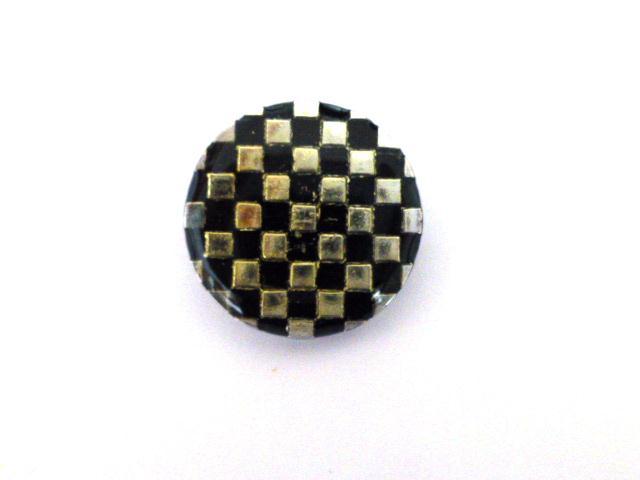 Silver Black Chequerboard Small button ( no.00291)