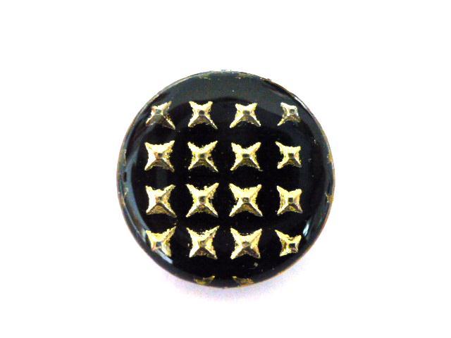 Silver Black Pyramid button (no.00310)