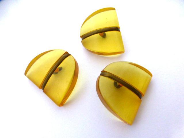 Amberine & Brass Art Deco Set of 3 buttons