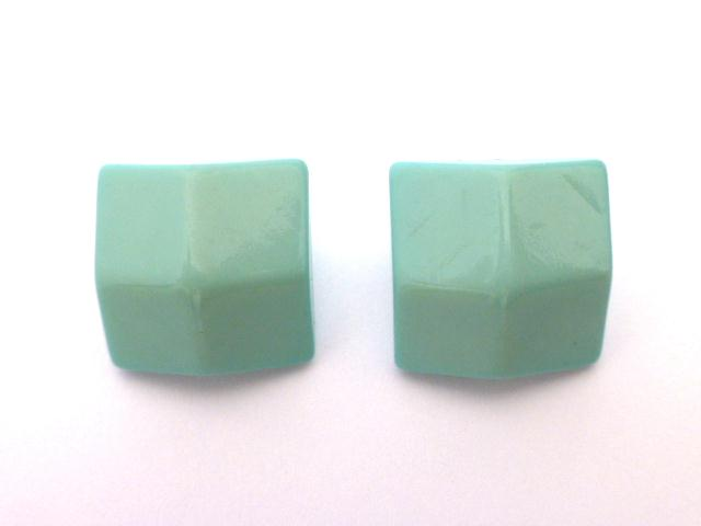 Pale Turquoise Pair of Square Quarter Dome buttons