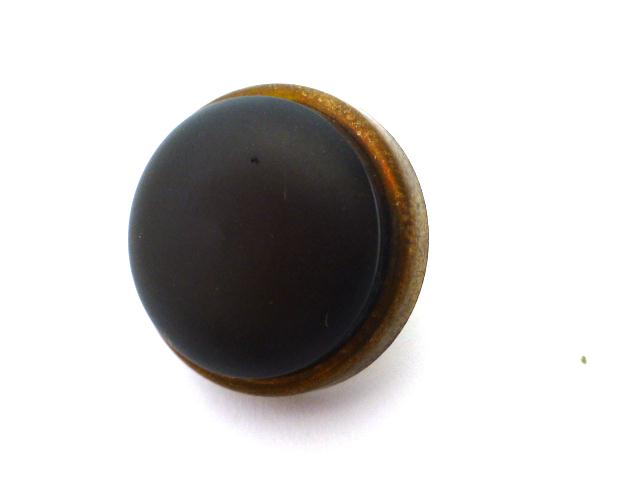 Dark Brown Leatherette High Dome Brass Set of 4 buttons