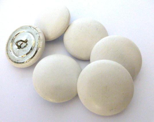 White Soft Charmois Leather Set of 6 Large buttons