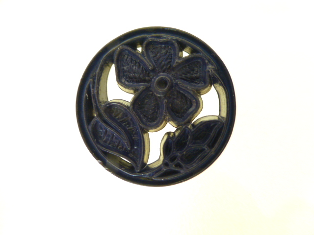 Dark Blue Openwork Flower button (No.00289)