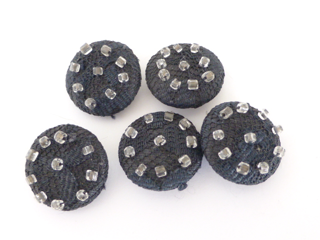 Set of 5 1920's/30's Beaded Black Fabric buttons
