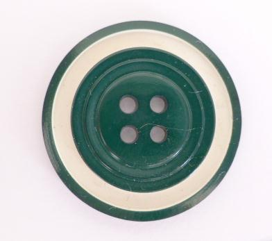 Dark Green White Banded 30's button (no.0216)