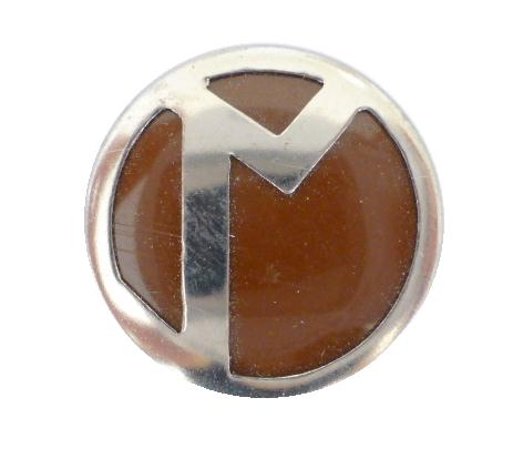 Art Deco Chrome Brown Blazer button (no.00325)