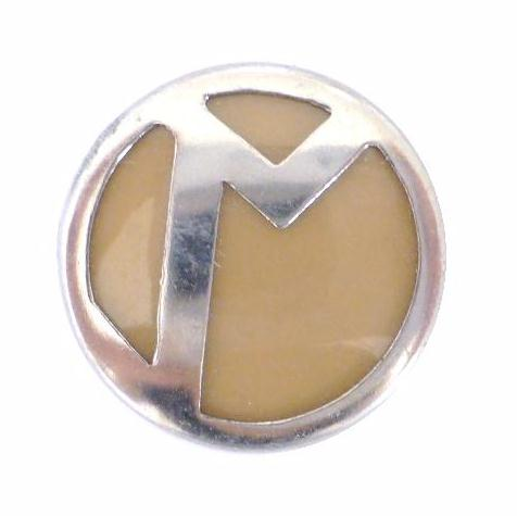 Art Deco Chrome Beige Blazer button (no.00324)