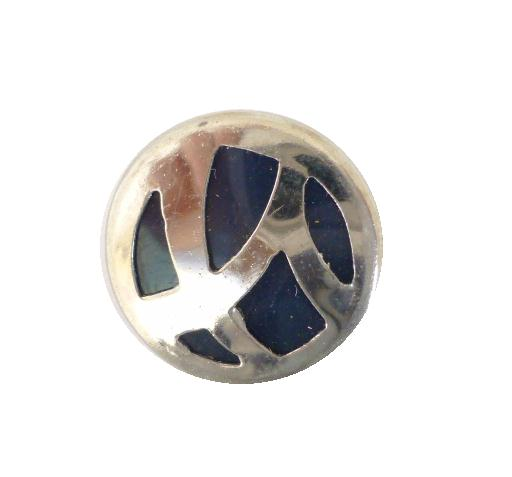 Art Deco Chrome Blue Small button (no.00327)