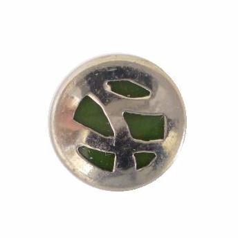 Art Deco Chrome Small Green button (no.00328)