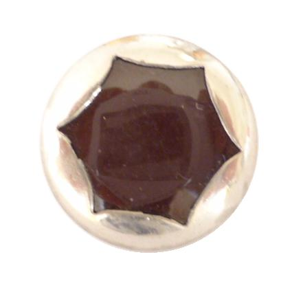 Art Deco Chrome Brown Star button (no.00323)