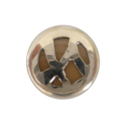 Art Deco Chrome Beige Small button (no.00329)