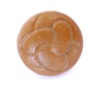 Triskelion Knot Pressed Brown Leather Sleeve or Cardigan button (no.00339)