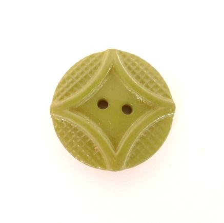 Green Patterned 1940's button (no.00187)