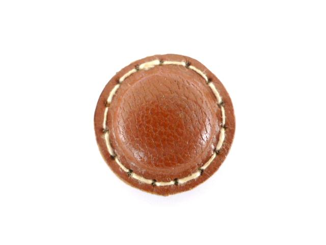 Tan Brown Stitched Leather button (no.00194)