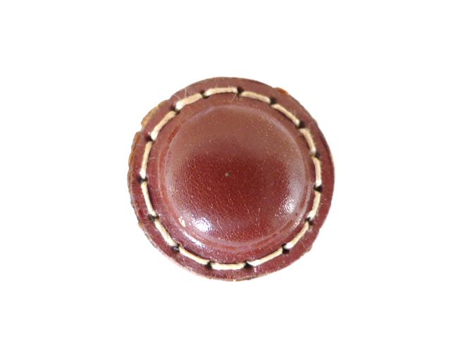 Maroon Stitched Leather button (no.00195)