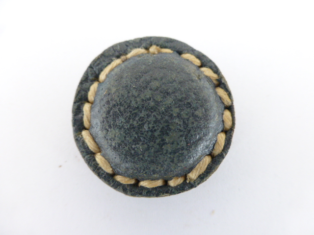 Blue Leather Stitched button (No.00197)