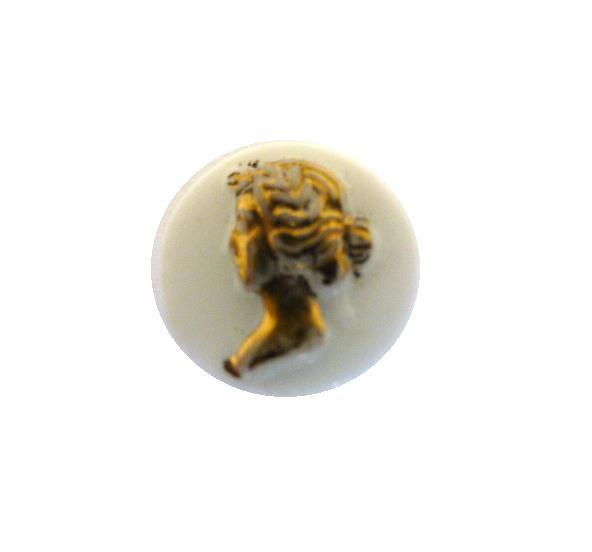 Tiny Gilt Lady White Glass button