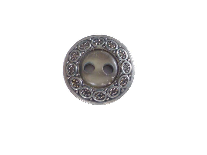 Tiny Pewter Green Grey Pearl Centre button (no.00170)