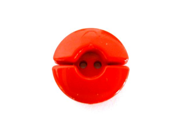 Bright Red Spilt Circle button (no.00662)