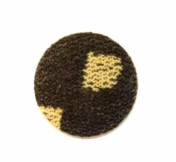 Brown and Cream Patterned Fabric button (no.00726)