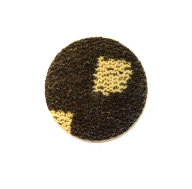 Grey and Cream Patterned Fabric button (no.00727)
