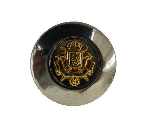 Gilt Heraldic Crest on Chrome button