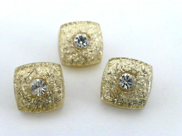Set of 3 Lucite and Diamonte buttons