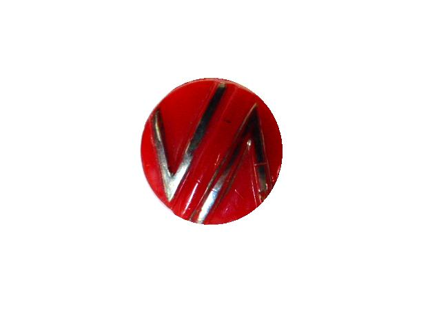 Art Deco Silver Lustred Red button