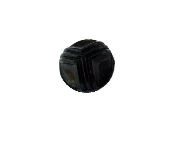 Black Glass Tricorn Dome button (no. 00585)