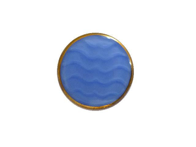 Blue Wavy Gilt Glass button