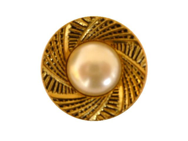 Pearl and Blackened Gold Frame Buttons