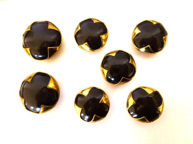 Set of Chocolate Brown Brass Encased buttons