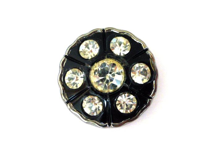 Large Black Glass and Diamonte button (no.00746)