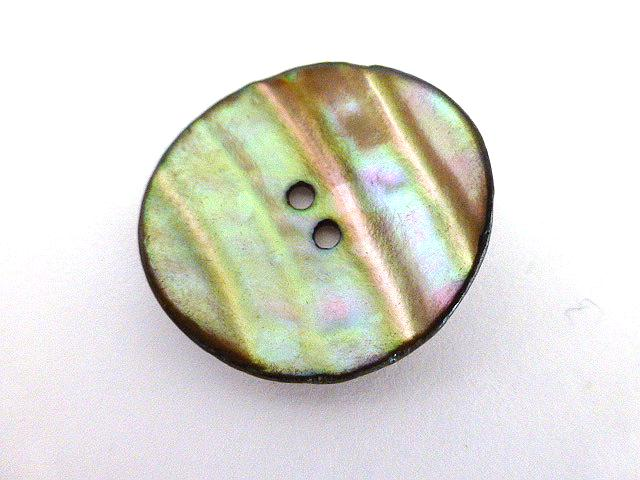 Brown/Green Dyed Mother-of-Pearl Curved Shell button (no. 00748)