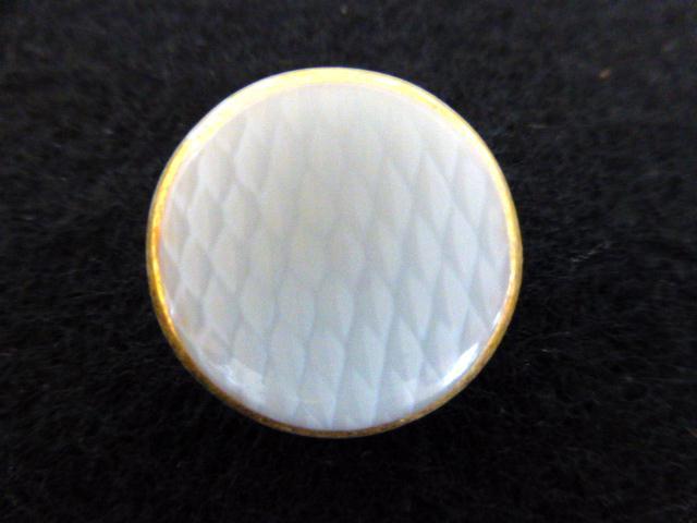 White Lattice Glass Gilt Rim button (no.00765)