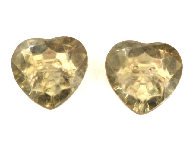 Pair of Grey Heart Clear Plastic buttons