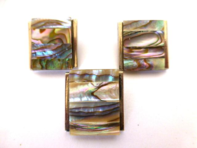 Abalone Shell Oblong Silver Large Buttons Set of 3