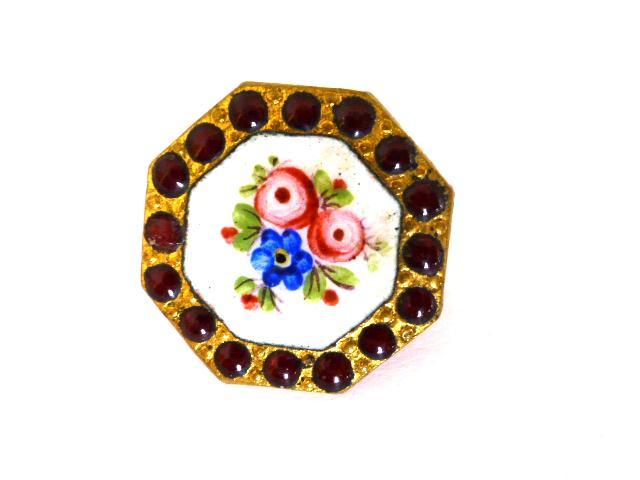 Floral Enamel Garnet Paste Octagonal button