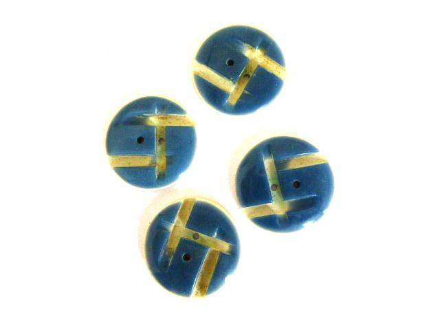 Art Deco Blue and Cream White Set of 4 buttons