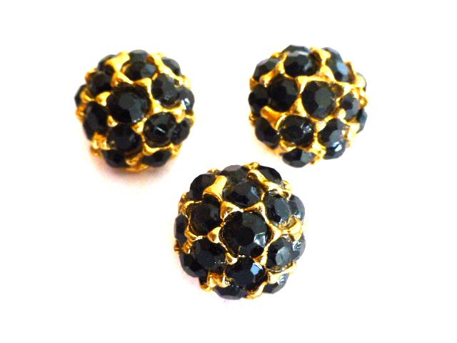 Set of 3 Small Black Glass Stone Gold buttons