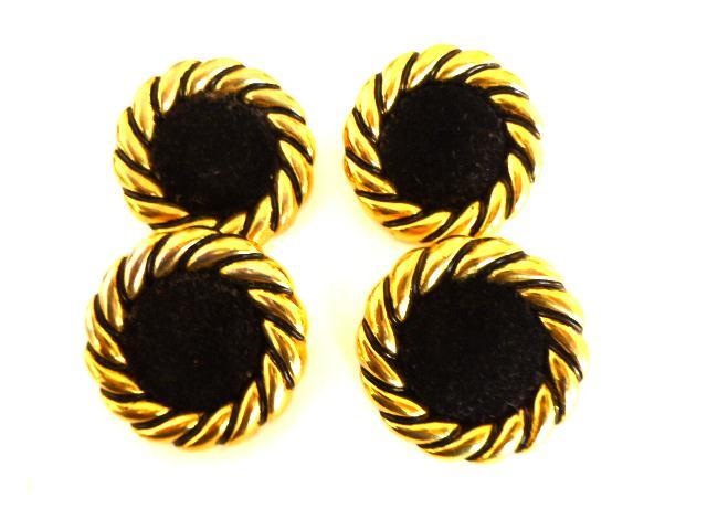 Set of 4 Black Velvet Gold Centre buttons