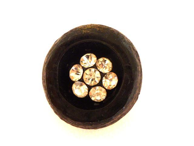 Large Black Diamonte Cluster Centre button (no. 00809)