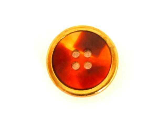 Tortoiseshell Lucite with Brass Rim button (no.00800)