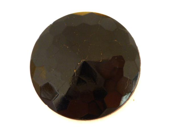 Large Black Glass Faceted button (no.00807)